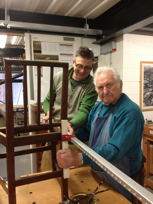 Dylan with his first woodwork class student George Morris at 84…