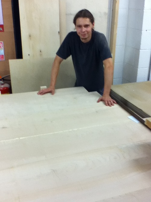 Alex Fallon glueing up the English sycamore meeting table top commissioned by Mark Ashby for Anna Brennand Chief Executive of the Ironbridge Gorge Museam Trust