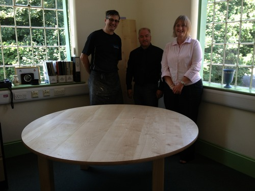 Dylan, Mark and Anna with the Sycamore meeting table, also desk and side tables all delivered on…