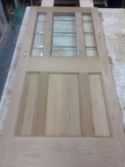 Oak door completed for London ready for finishing.