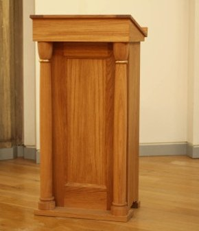 Cambridge lectern made in  European oak with solid brass inserts