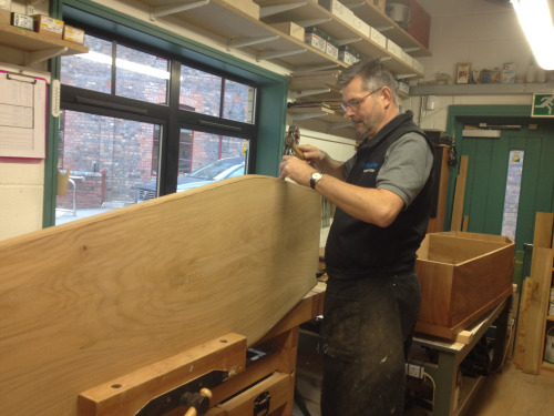 Dylan completing the English Elm Coffin for the Hiermonk…